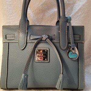Dooney & Bourke Blue Leather Tassel Tote Bag